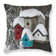 Winter Birdhouses Throw Pillow