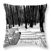 Winter Boardwalk In Black And White Throw Pillow