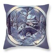 Winter Bridge In Blue Throw Pillow