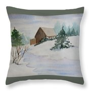 Winter Cabin Throw Pillow
