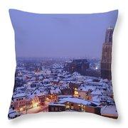 Winter Cityscape Of Utrecht In The Evening 14 Throw Pillow
