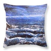 Winter Coastal Storm Throw Pillow