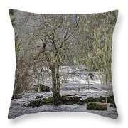 Winter Colors On The Klawock Throw Pillow