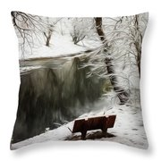 Winter Contemplation Watercolor Painting Throw Pillow