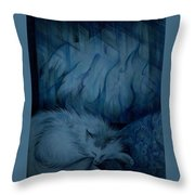 Winter Day Napping Throw Pillow
