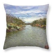 Winter Day On The Canal Throw Pillow