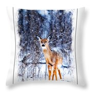 Winter Deer 1 Throw Pillow