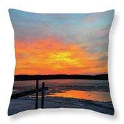 Winter Docks Throw Pillow