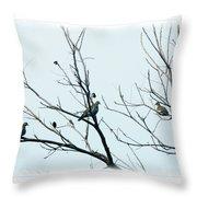Winter Doves Throw Pillow