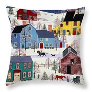Winter Evening Fun Throw Pillow