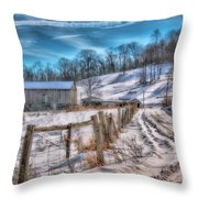 Winter Farm Barn In Snow  Throw Pillow