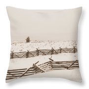 Winter Fence In Oregon Throw Pillow