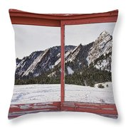 Winter Flatirons Boulder Colorado Red Barn Picture Window Frame  Throw Pillow