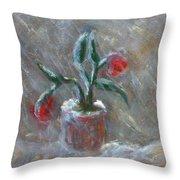 Winter Flowers Throw Pillow