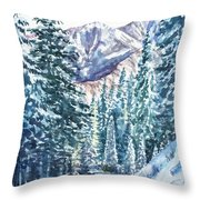 Winter Forest And Mountains Throw Pillow