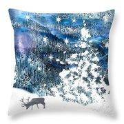 Winter Forest Scene Throw Pillow