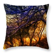 Winter Forest Sunset Oil Style Throw Pillow