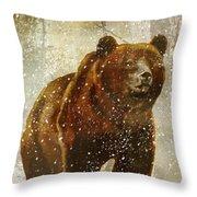 Winter Game Bear Throw Pillow
