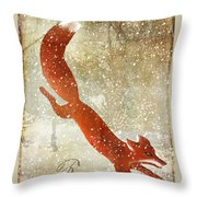 Winter Game Fox Throw Pillow