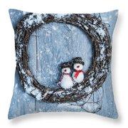 Winter Garland Throw Pillow