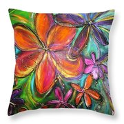 Winter Glow Flower Painting Throw Pillow
