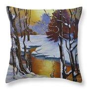 Winter Gold Throw Pillow