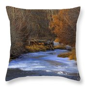 Winter Gold On The Yakima River Throw Pillow