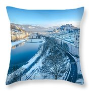 Winter Greetings From Salzburg Throw Pillow