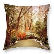 Winter Greets Autumn Throw Pillow