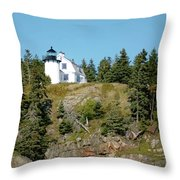 Winter Harbor Lighthouse Throw Pillow