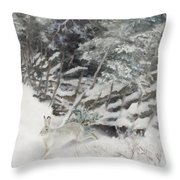 Winter Hare At The Fence Throw Pillow