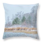 Winter Hoarfrost On The River Throw Pillow