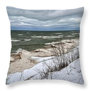 Winter Ice On Lake Michigan Ll Throw Pillow