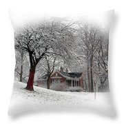 Winter In Bridgeton Throw Pillow