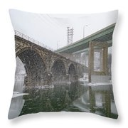 Winter In East Falls Along The Schuylkill River Throw Pillow