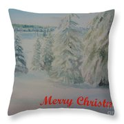 Winter In Gyllbergen Merry Christmas Red Text Throw Pillow