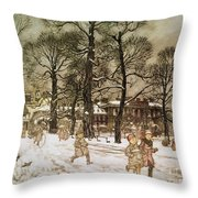 Winter In Kensington Gardens Throw Pillow