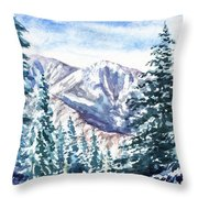 Winter In The Mountains  Throw Pillow