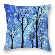 Winter In The Woods Abstract Throw Pillow