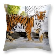 Winter In The Zoo Throw Pillow