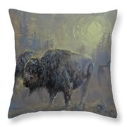 Winter In Yellowstone Throw Pillow