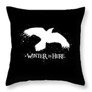 Winter Is Here - Large Raven Throw Pillow