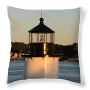 Winter Island Lighthouse At Sunset, Salem, Massachusetts Throw Pillow