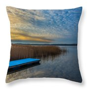 Winter Lake View With A White Rectangle Throw Pillow by Julis Simo