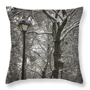 Winter Lamp Post Throw Pillow