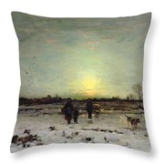 Winter Landscape At Sunset Throw Pillow by Ludwig Munthe