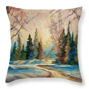 Winter Landscape Knowlton Quebec Throw Pillow