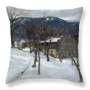 Winter Landscape Near Kutterling Throw Pillow