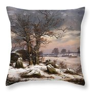 Winter Landscape. Near Vordingborg Throw Pillow