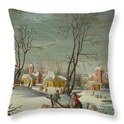 Winter Landscape Of A Village Throw Pillow